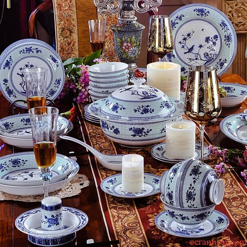 58 head of jingdezhen blue and white porcelain tableware tableware dishes ceramics gift set charactizing a fine spring day