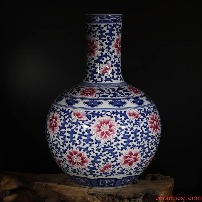 Jingdezhen porcelain dou colors branch lotus celestial vase 60 cm Gao Qinghua bucket color red branch lotus bottle