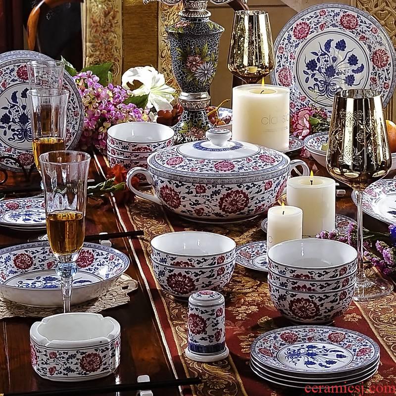 Jingdezhen 56 head enamel pastel colored dishes archaize royal porcelain tableware suit ceramics