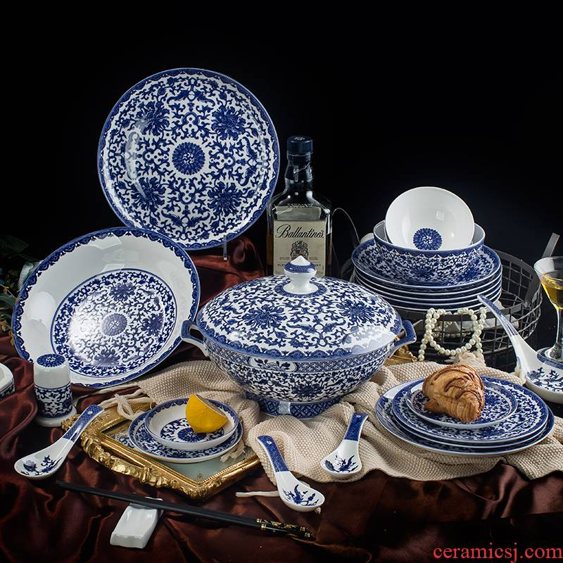Jingdezhen blue and white porcelain dish suits for under the glaze color dishes household of Chinese style ceramic tableware, 72 head of archaize tableware
