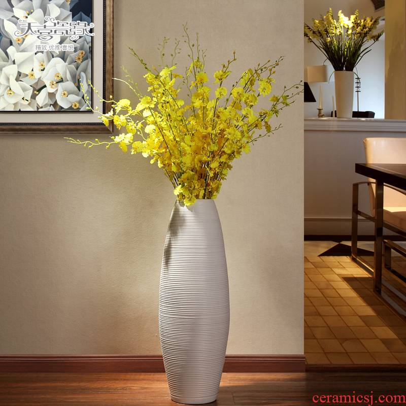 Large European modern ceramics vase creative hotel living room TV ark, home furnishing articles POTS dry flower art
