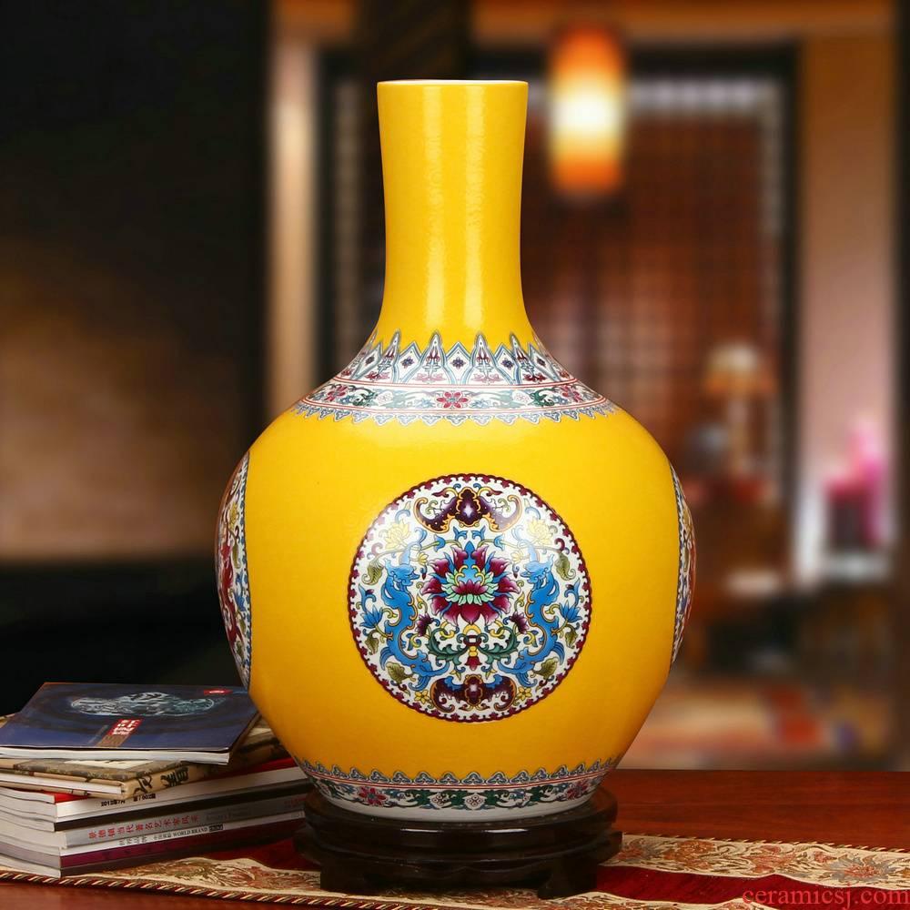 Yellow colored enamel porcelain of jingdezhen ceramics steak flower celestial big vase furnishing articles fashionable household decoration decoration