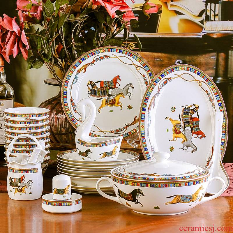 The dishes suit European household contracted plate dishes dishes combine ipads porcelain of jingdezhen ceramics tableware food dish