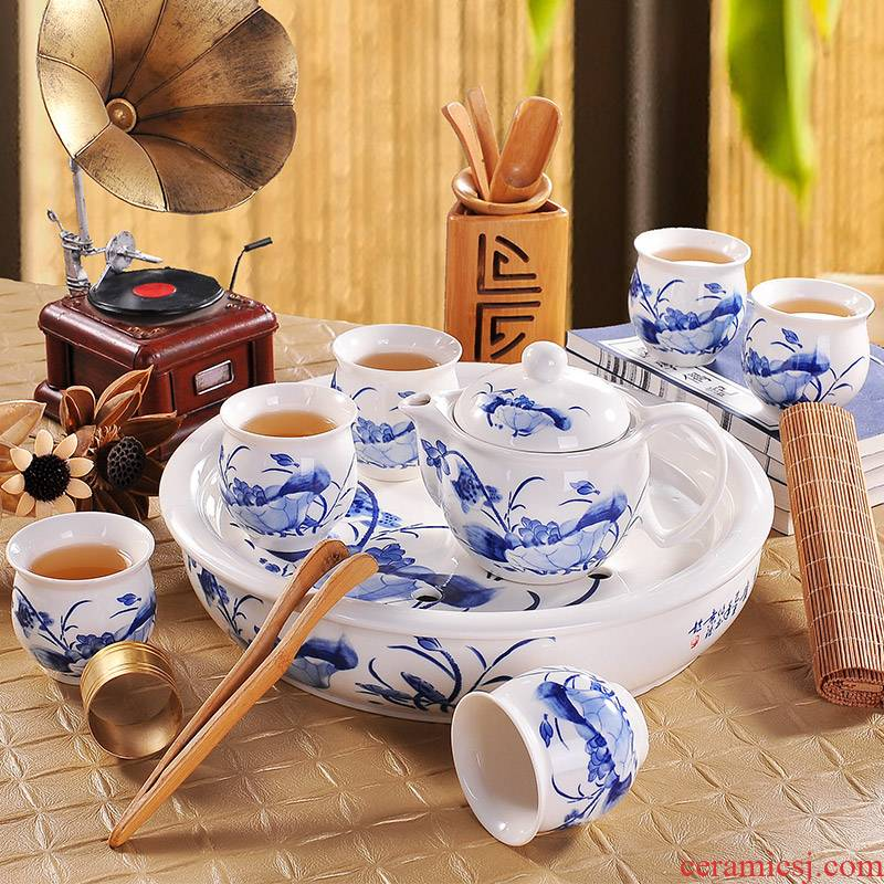 Blue and white porcelain tea set household circular contracted jingdezhen ceramic cup teapot with tea tray of a complete set of kung fu
