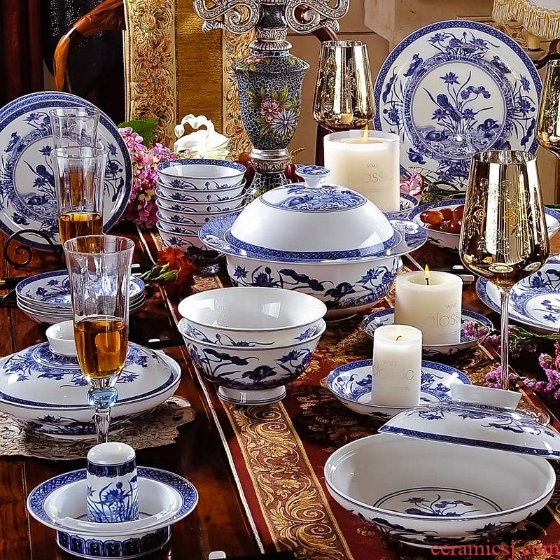 60 head of archaize of jingdezhen blue and white porcelain girlfriend ipads porcelain tableware ceramics wedding gift set to use