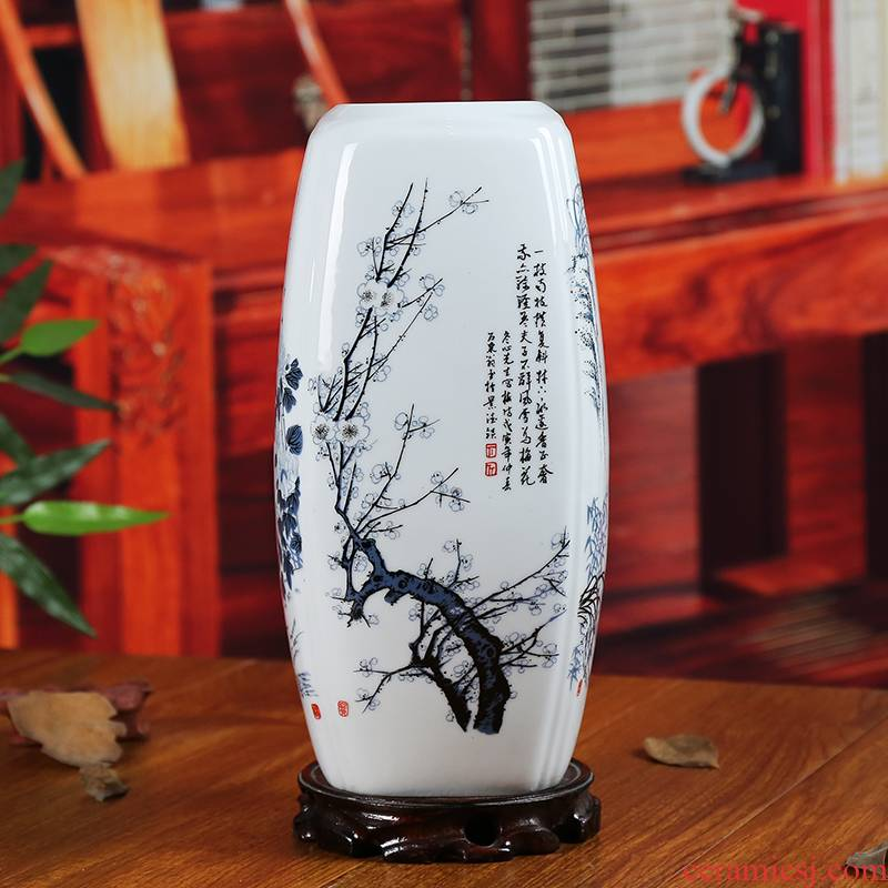 Jingdezhen chinaware bottle name plum by four gentleman sitting room adornment household study lucky bamboo receptacle