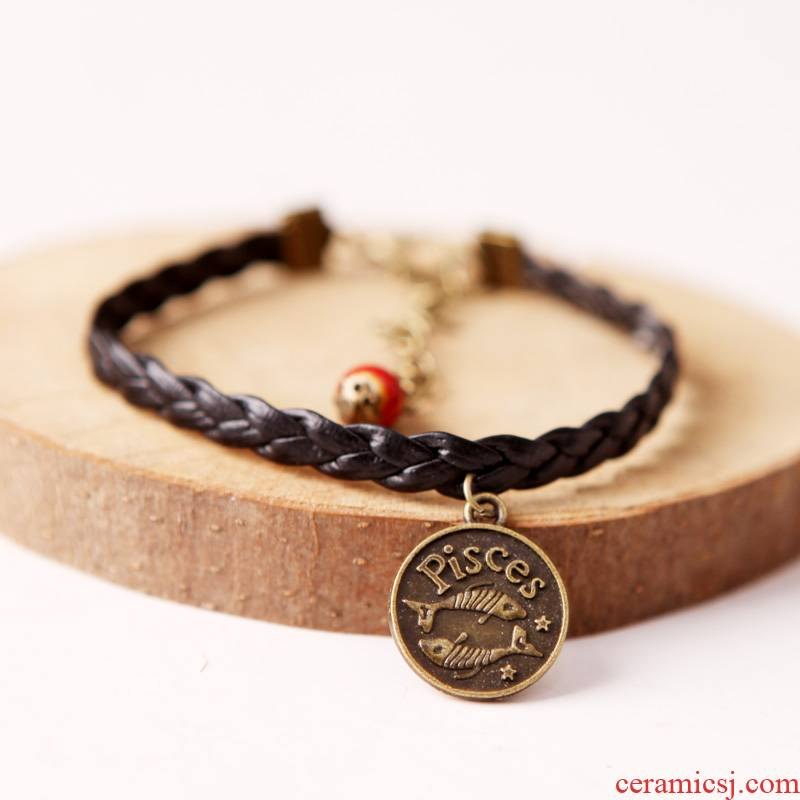 QingGe national wind restoring ancient ways hand rope 12 zodiac signs of jingdezhen ceramic bracelet female students lay in small adorn article on supply of goods