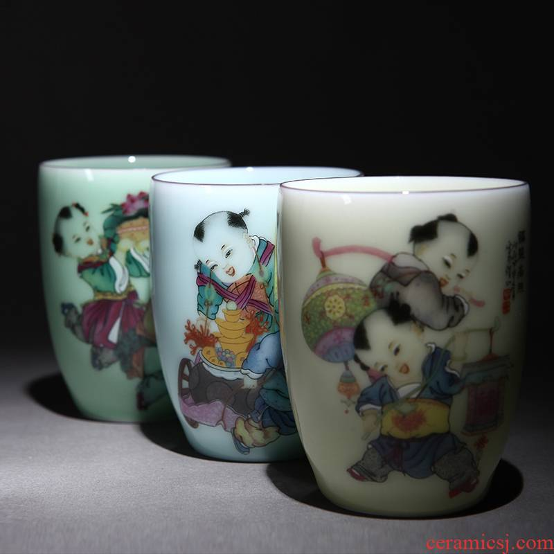 Jingdezhen ceramic cups office glass mugs celadon couples mark cup by hand