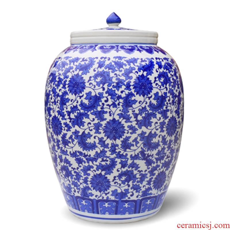 50 kg 100 jins of jingdezhen ceramic barrel ricer box tank cylinder storage tank brewing tea cake cylinder altar green flower bed