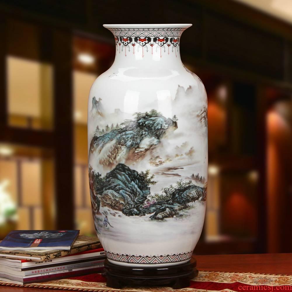 Jingdezhen ceramics idea gourd pastel landscape of large vases, modern Chinese style household craft feng shui furnishing articles