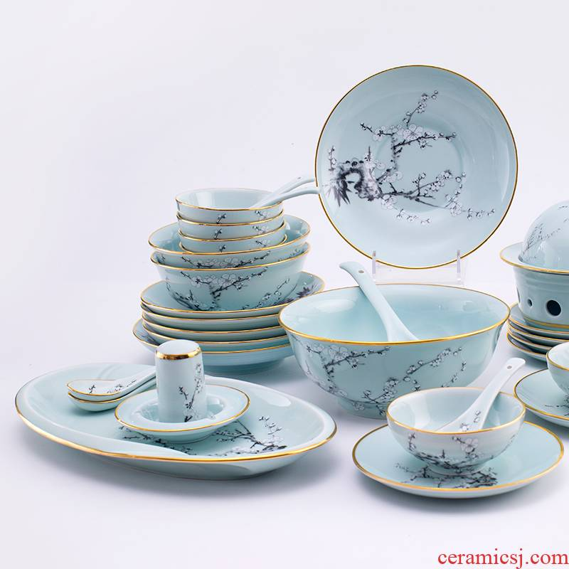 Chinese tableware suit household colored enamel porcelain bowl celadon dishes suit jingdezhen celadon jade porcelain tableware