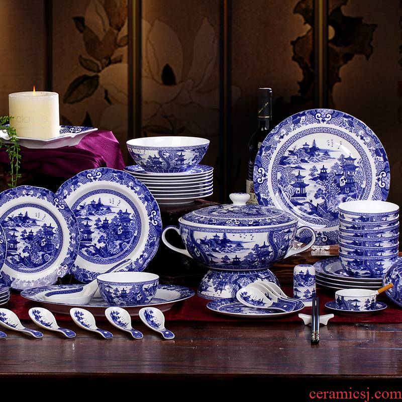 European export porcelain in the the qing dynasty blue - and - white 】 loft classical garden landscape of west lake Chinese bowl of compact ipads porcelain tableware