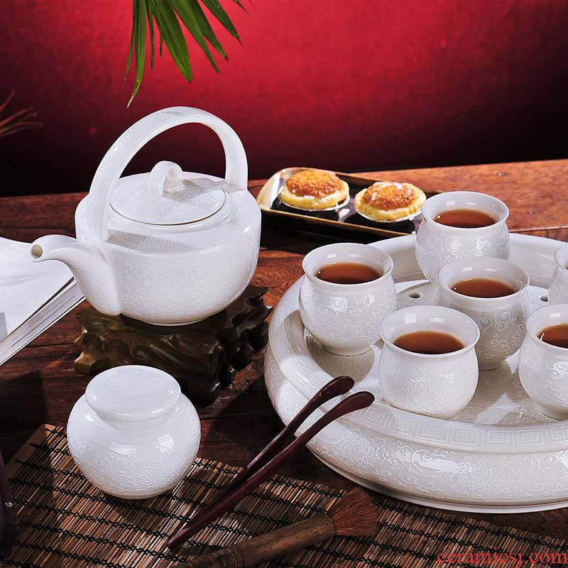 Red xin jingdezhen ceramics 9 double tea set with cover cup white reliefs the teapot