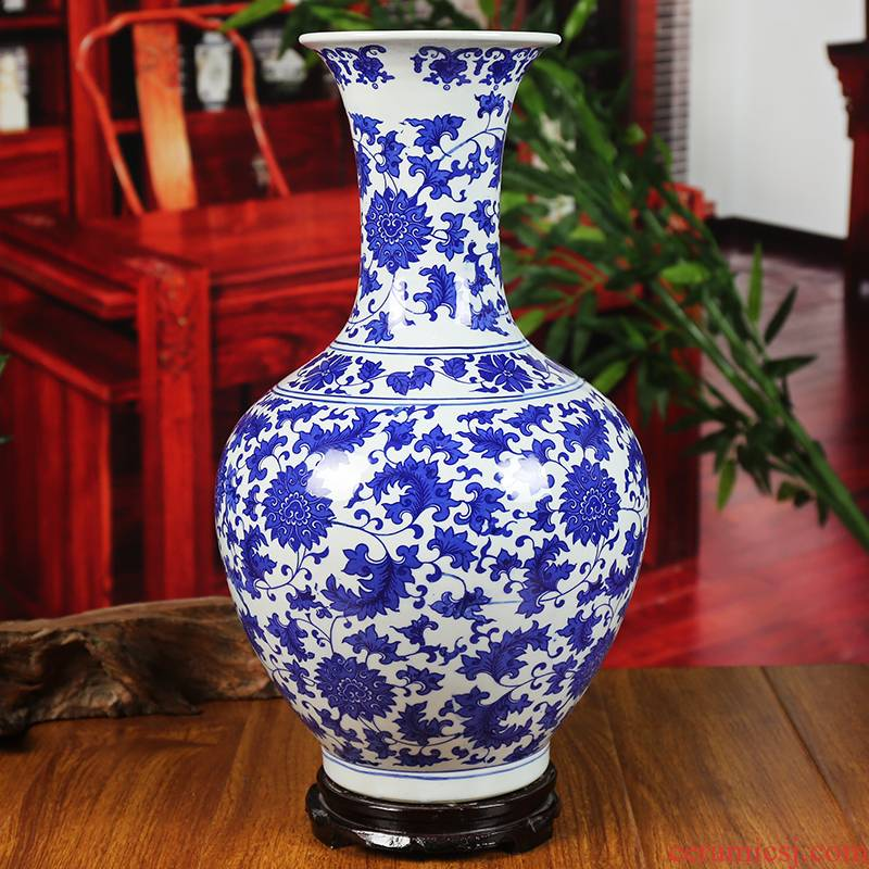 Jingdezhen ceramic vase under the glaze color blue and white porcelain lotus flower modern home sitting room place classical handicraft