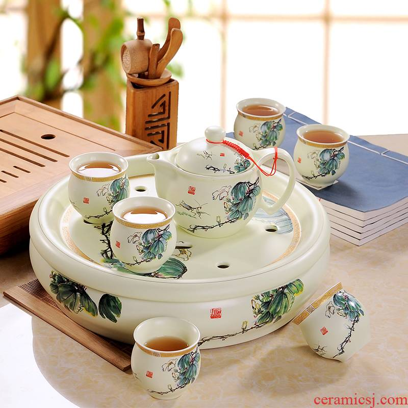 Jingdezhen ceramic tea set suits for domestic high - grade circular teapot tea gift box kung fu tea tray of a complete set of cups