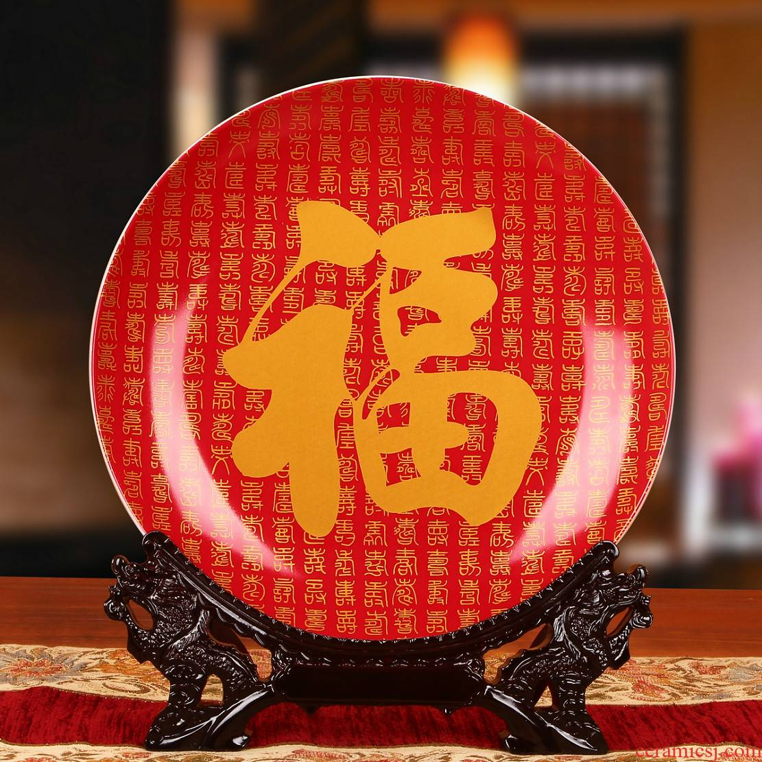 Jingdezhen ceramics China red ave sit hang dish plate faceplate Chinese style classical decoration home furnishing articles