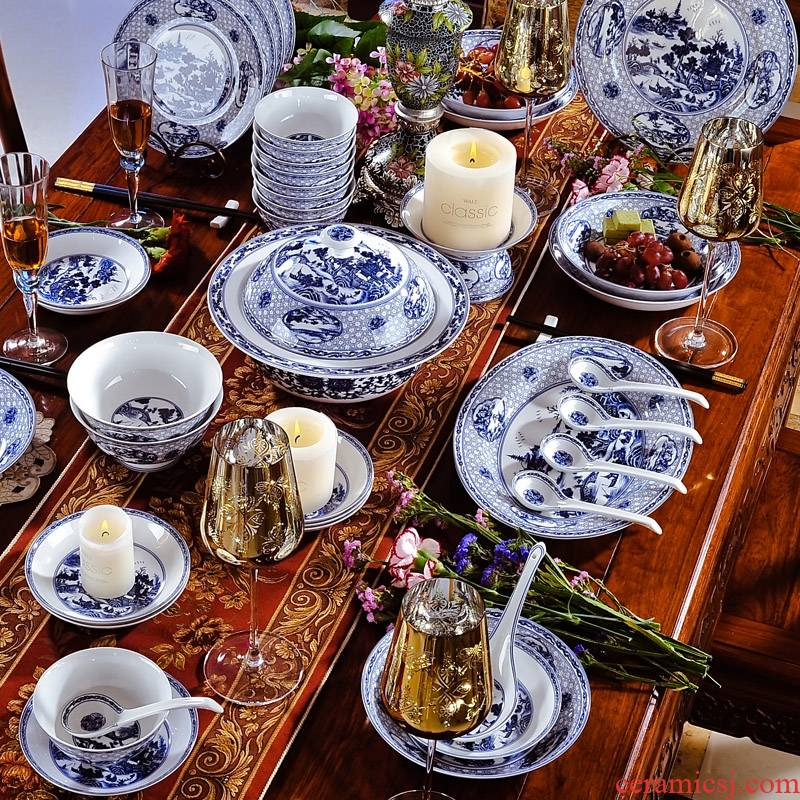 58 head of archaize of jingdezhen blue and white porcelain garden set bowl dishes Chinese ceramics tableware