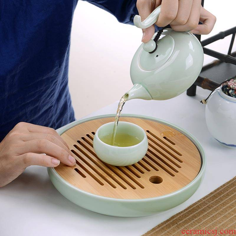 Portable travel tea set touch the floor clearance 】 【 jingdezhen ceramic household whole cup teapot tea tray