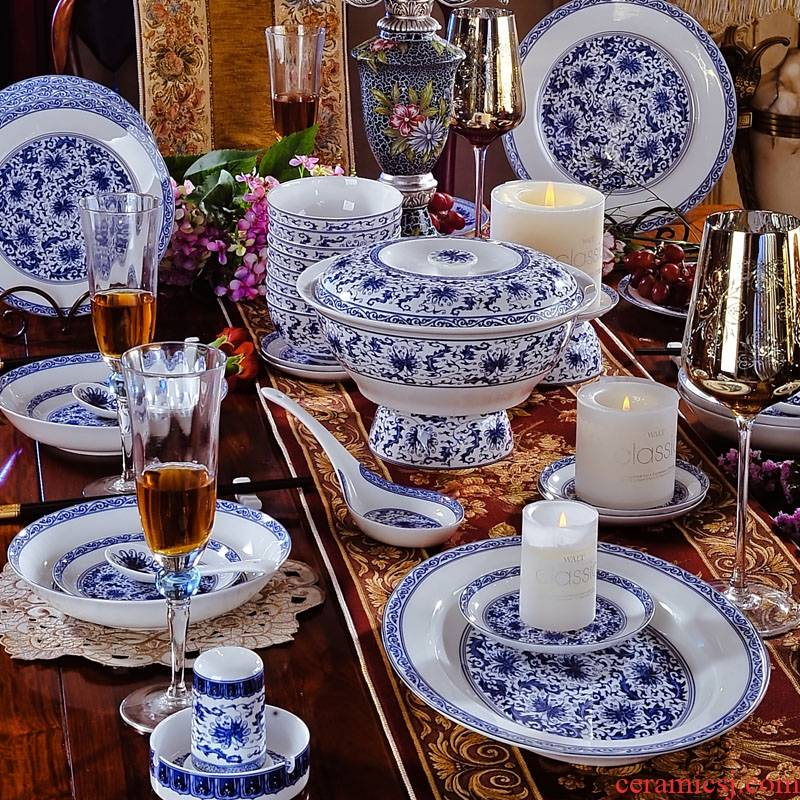 High imitation Ming and the qing guanyao porcelain tableware suit 56 】 jingdezhen bowls of ipads plate dishes suit household head