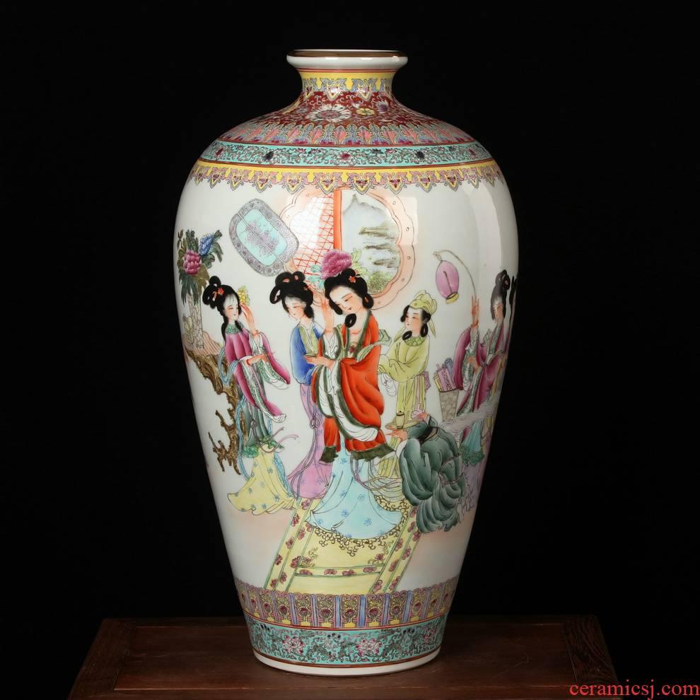 Jingdezhen porcelain factory factory goods of high - grade enamel hand - made ceramics art had name plum bottle vase arts and crafts