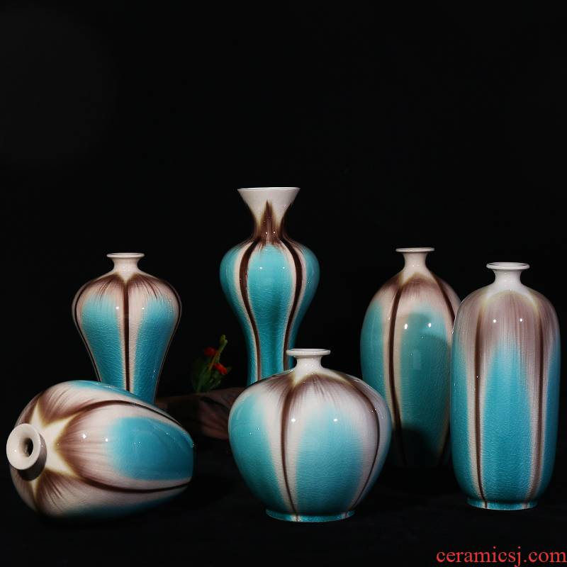 Open the slice of jingdezhen ceramics plain tricolour vase modern home sitting room adornment is contracted place decoration handicraft