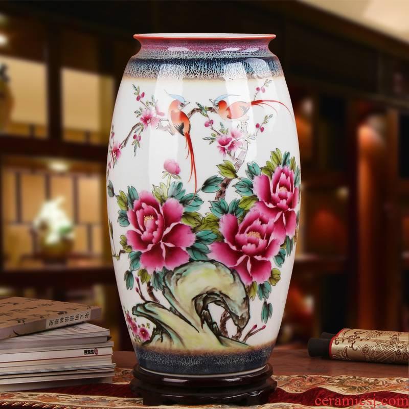 Famous Xia Guoan jingdezhen ceramics vase upscale hand pastel color glaze peony flower vase