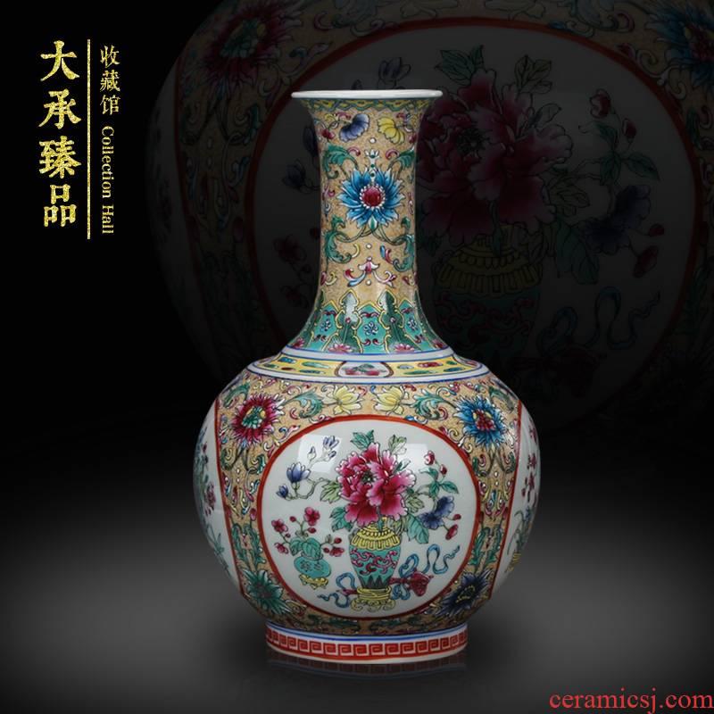 Jingdezhen ceramics enamel enamel vase clawed open the world flower pattern design mesa bookshelf handicraft furnishing articles
