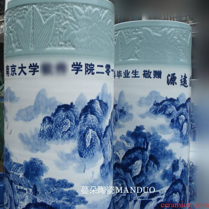 Jingdezhen hand - made the custom - built 1.8 2.2 meters tall porcelain vase quiver school unit to send people to write the vase
