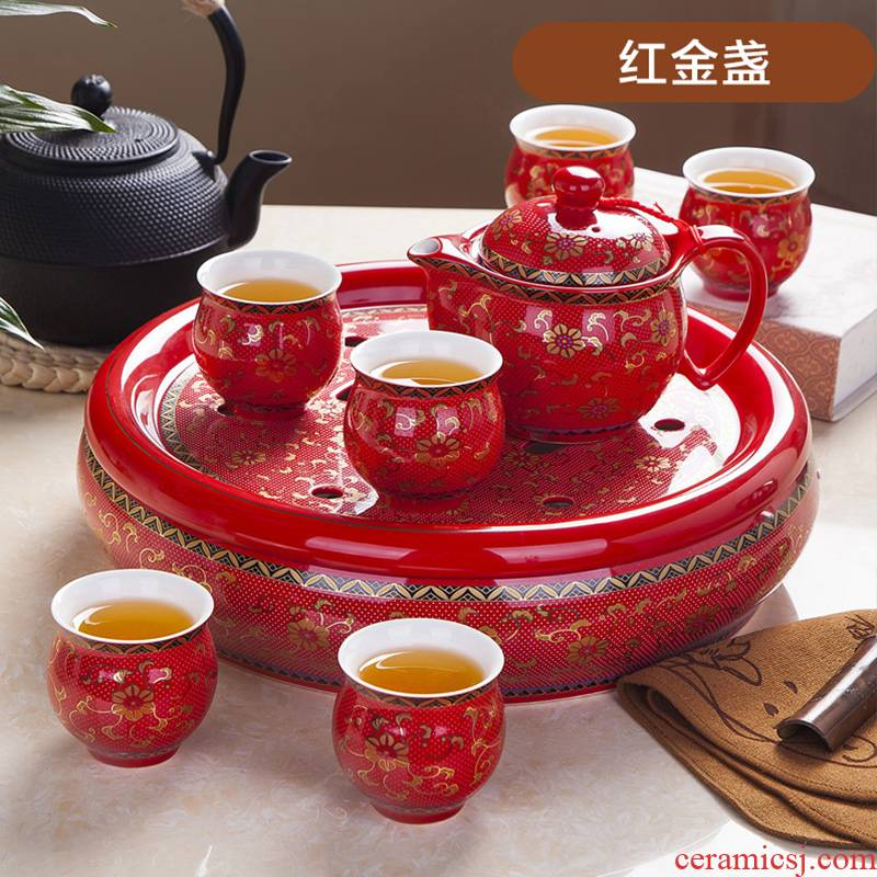 I kung fu tea set suit wedding Chinese style household contracted jingdezhen ceramic teapot tea tray of a complete set of cups
