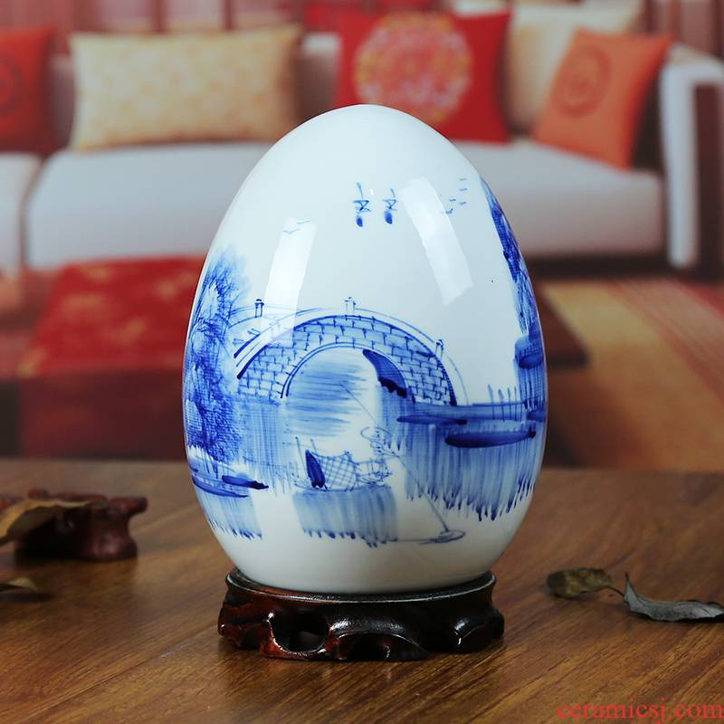 Jingdezhen blue and white porcelain ceramic vase hand - made in modern home furnishing articles f egg handicraft gift sitting room