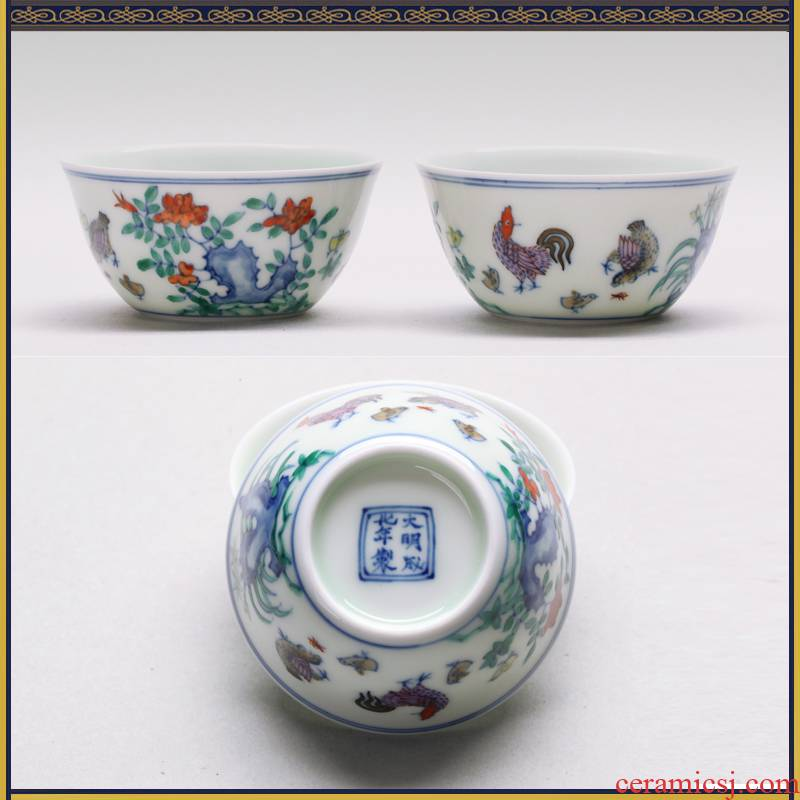 In color bucket maintain ancient ash glaze cup chicken cylinder jingdezhen archaize thin foetus sample tea cup set limit to of rooster cup by hand