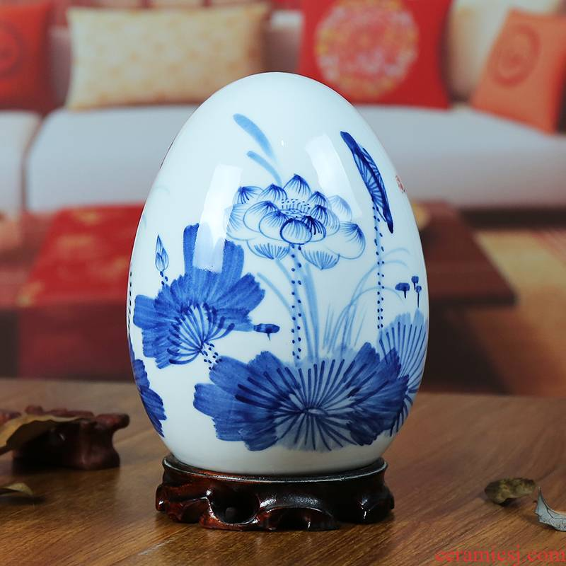 Jingdezhen ceramic vase modern blue and white porcelain painting lotus home sitting room place the egg handicraft gifts