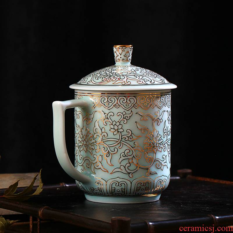 Jingdezhen ceramic office shadow blue glaze with cover cup tea cup of the big hand paint cup tea cup