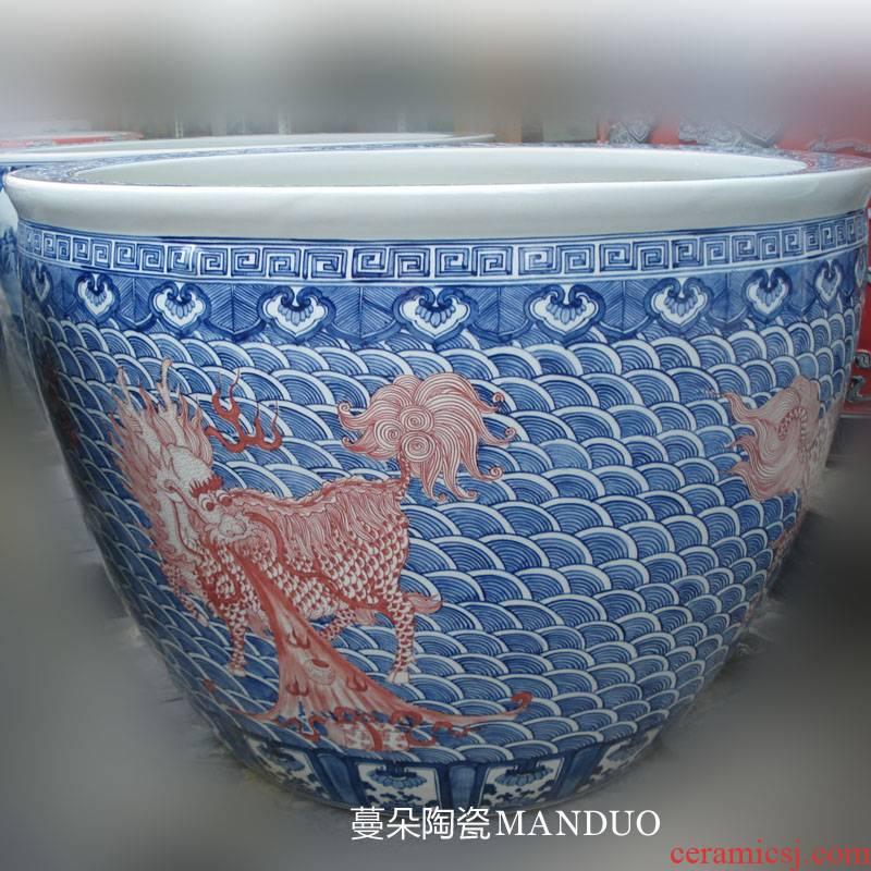 Benevolent jingdezhen blue and white youligong hand - made porcelain porcelain garden big lion design cylinder