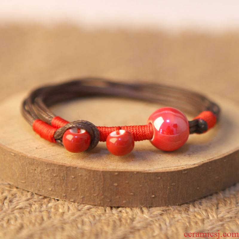 """QingGe jingdezhen manual ceramic decoration color glaze porcelain bead bracelet with men and women with multicolor named """"supply"""" to stall"""
