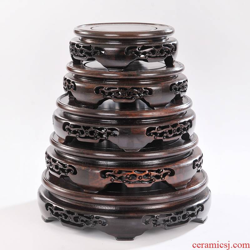 Wooden circular classical vase holder base solid wood flowerpot vase base carve patterns or designs on woodwork black twigs rounded root carving