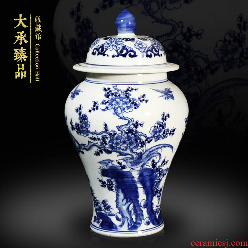 Jingdezhen antique hand - made beaming with blue and white porcelain vase, general tank Chinese sitting room adornment is placed