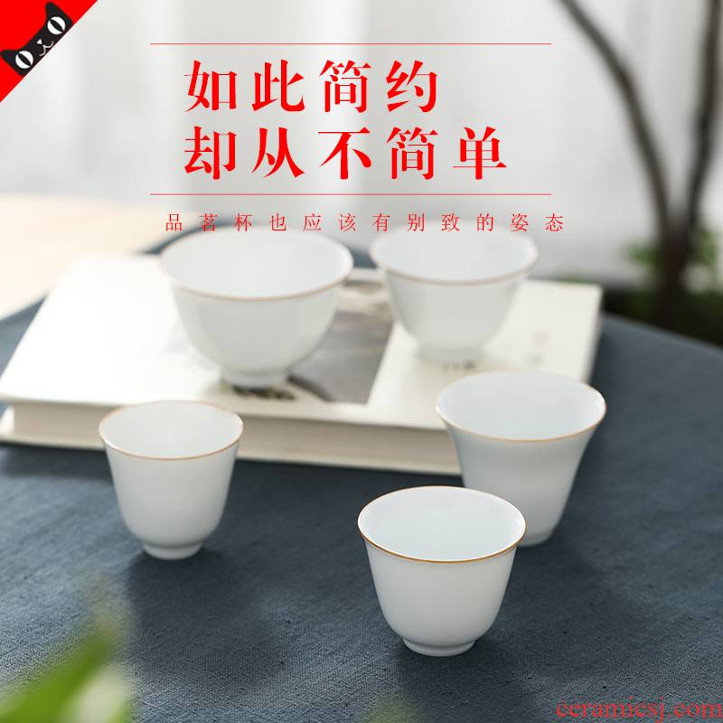Jingdezhen kung fu tea master cup thin foetus white porcelain bowl with single cup small sample tea cup ceramic tea set, tea cups