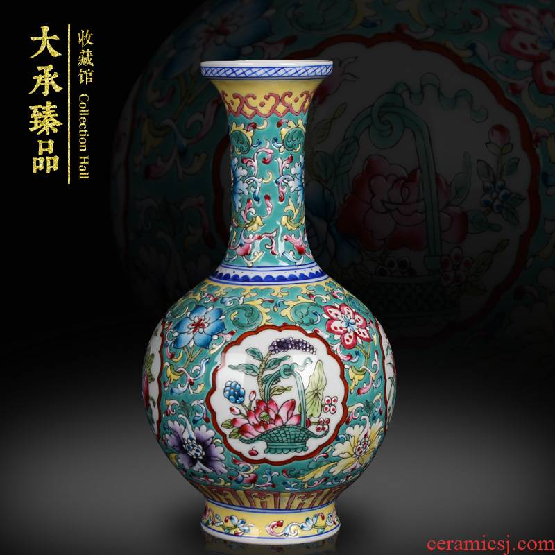Jingdezhen ceramics furnishing articles of Chinese style antique hand - made pastel green open flowers collection household craft vase