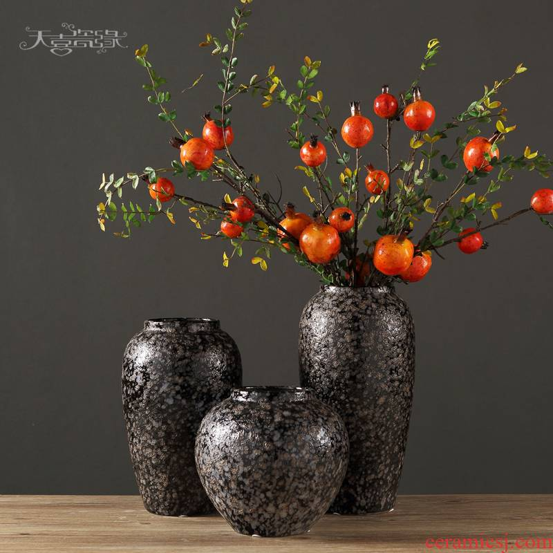 Retro manual water raise POTS Retro coarse pottery vases, flower implement light and decoration vase dried flower earthenware jar do old crock