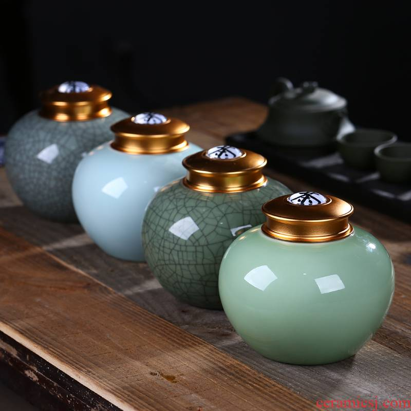 Household seal pot of jingdezhen ceramics caddy fixings elder brother up honey pot alloy cover moisture preservation POTS are large