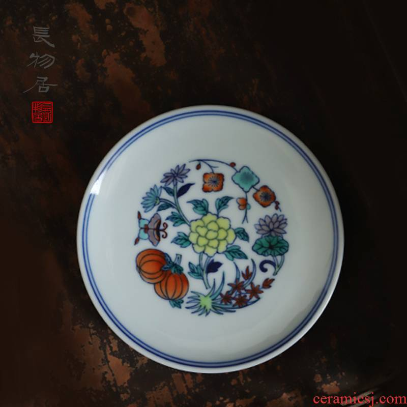Long up controller offered home - cooked hand - made bucket color flowers in dab cup saucer jingdezhen ceramic tea set by hand