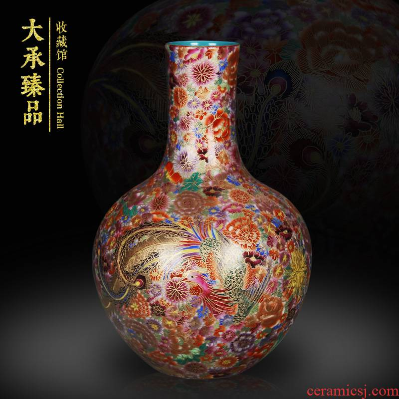 Jingdezhen ceramics hand - made wire inlay enamel see phoenix celestial flower vase collection of Chinese style household crafts