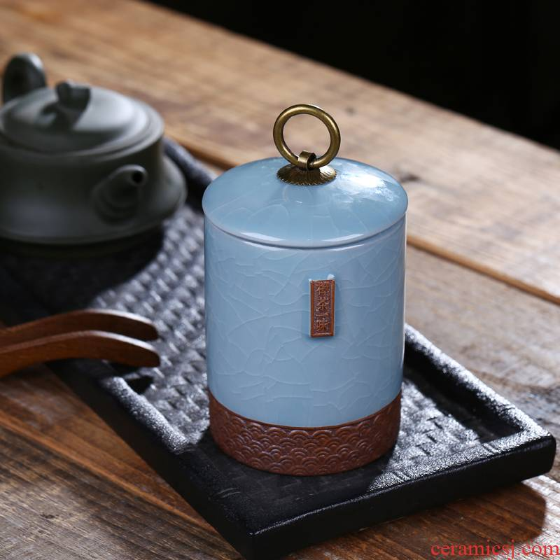 Jingdezhen ceramic tea caddy fixings crackle seal pot small storage tank preserves 300 ml as cans