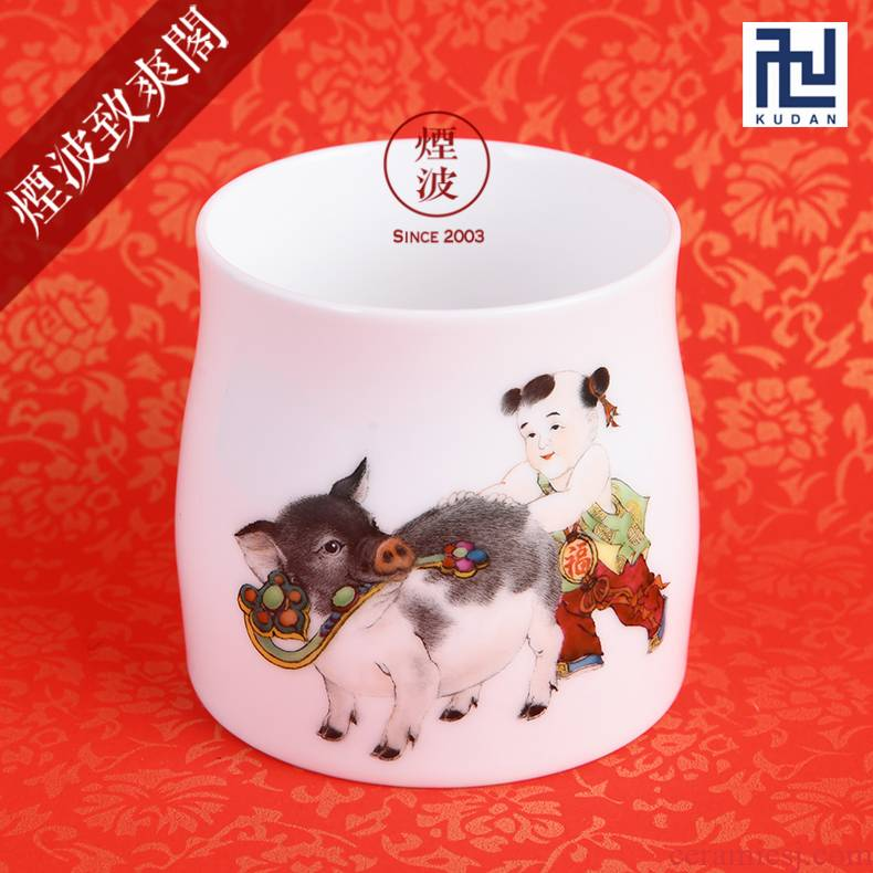 Those nine calcinations hand - made famille rose porcelain jingdezhen experienced painters lam, well the first year of the pig bar cup