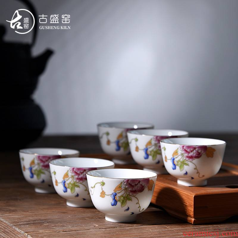 The ancient new sheng up celadon hand - made The master sample tea cup cup single CPU dehua white cup ceramic tea sets kung fu