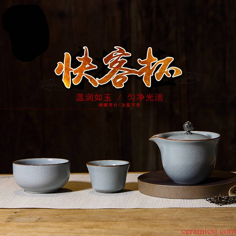 The Poly real boutique scene. Your up crack cup hand grasp pot of tea set jingdezhen ceramic kung fu tea set portable