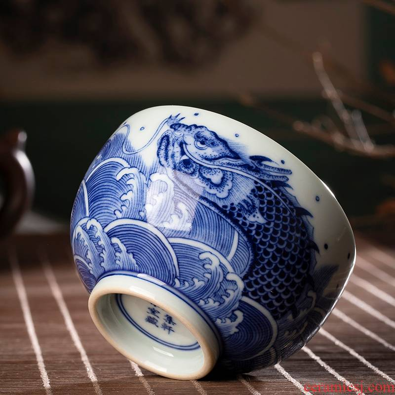 The Master cup single cup bowl of jingdezhen ceramic hand - made porcelain cups to maintain sea grain sample tea cup small tea cups
