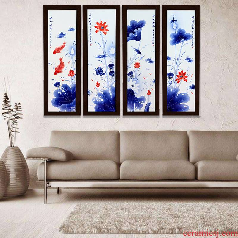 Hang a picture to jingdezhen blue and white porcelain is hand made lotus sitting room adornment background sofa four fish screen painting ceramic plate