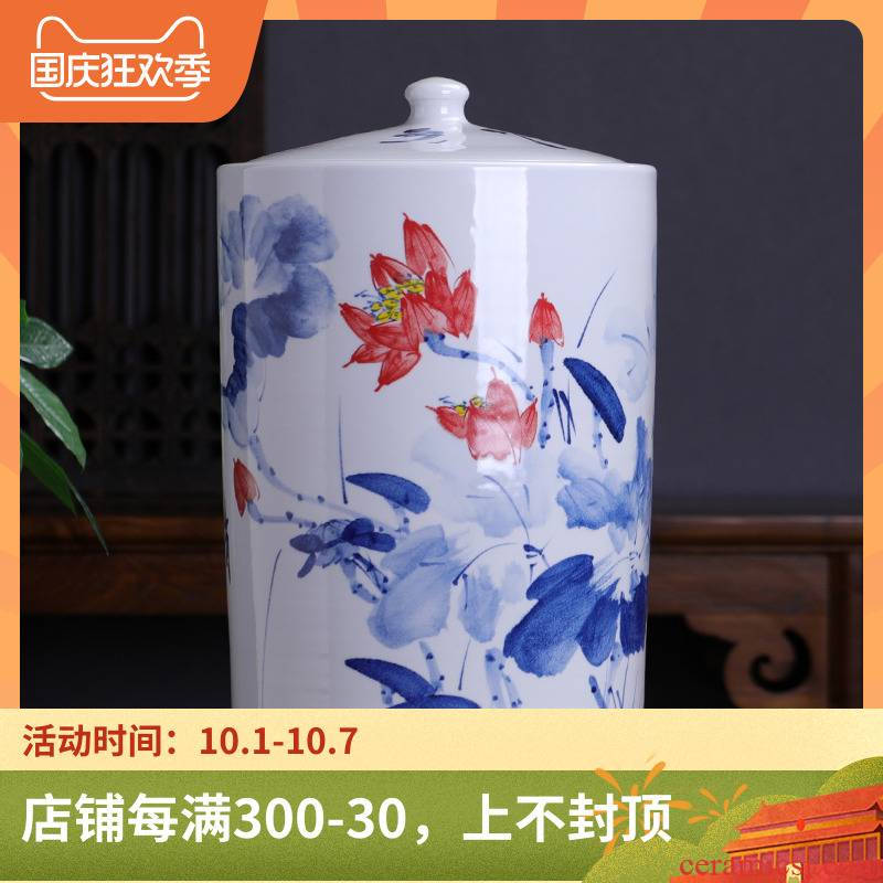 Hand made lotus straight ceramic tea storage tanks of the big yards detong super heavy puer tea cake tin tea cylinder